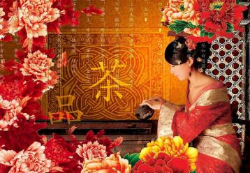 古典美女泡茶图 美女泡茶设计素材