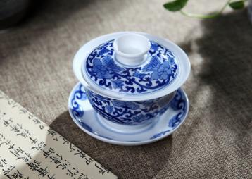 青花瓷盖碗图片|青花瓷茶具图片