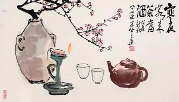 齐白石画作《寒夜客来茶当酒》